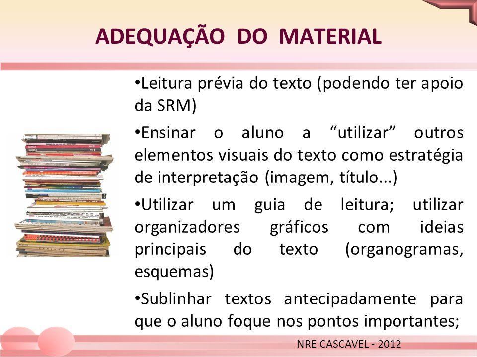 ADEQUAÇÃO DO MATERIAL NRE CASCAVEL - 2012. Leitura prévia do texto (podendo ter apoio da SRM)