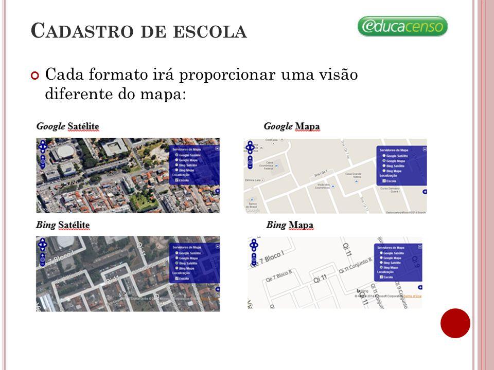 Cadastro de escola Cada formato irá proporcionar uma visão diferente do mapa: