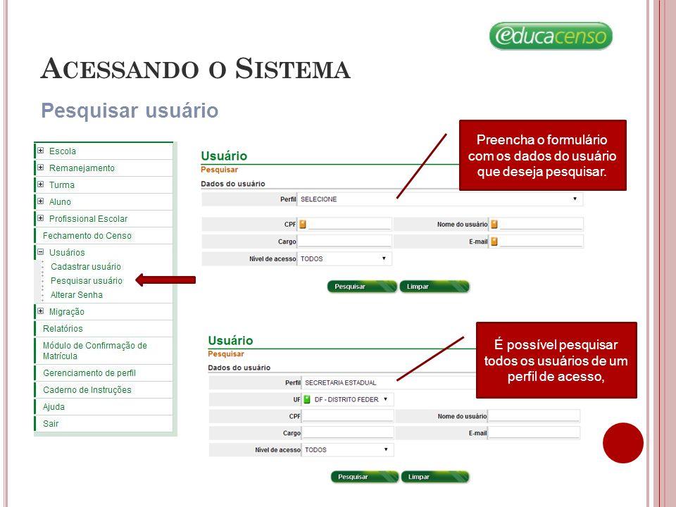 Acessando o Sistema Pesquisar usuário
