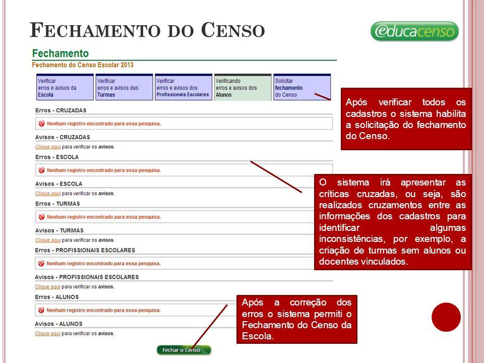 Fechamento do Censo Após verificar todos os cadastros o sistema habilita a solicitação do fechamento do Censo.