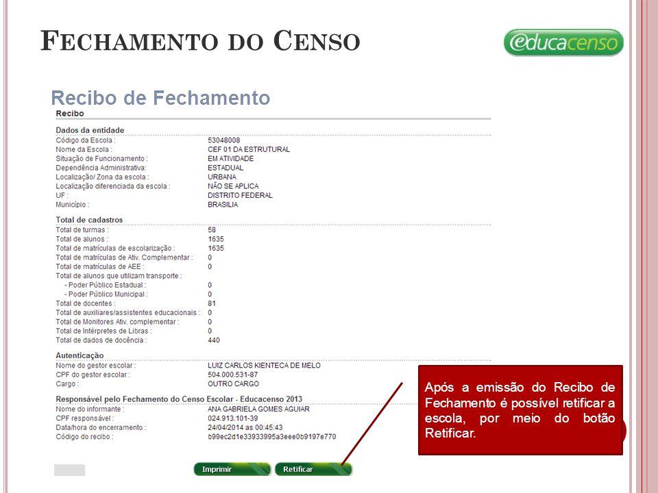 Fechamento do Censo Recibo de Fechamento
