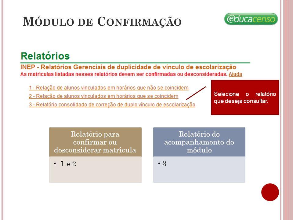 Módulo de Confirmação Selecione o relatório que deseja consultar. Relatório para confirmar ou desconsiderar matrícula.