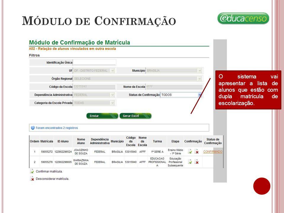 Módulo de Confirmação O sistema vai apresentar a lista de alunos que estão com dupla matrícula de escolarização.