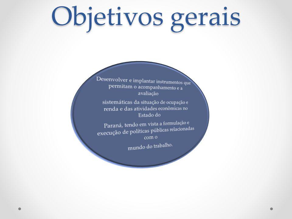 Objetivos gerais Desenvolver e implantar instrumentos que permitam o acompanhamento e a avaliação.