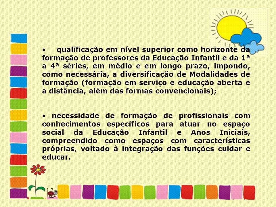 qualificação em nível superior como horizonte da formação de professores da Educação Infantil e da 1ª a 4ª séries, em médio e em longo prazo, impondo, como necessária, a diversificação de Modalidades de formação (formação em serviço e educação aberta e a distância, além das formas convencionais);