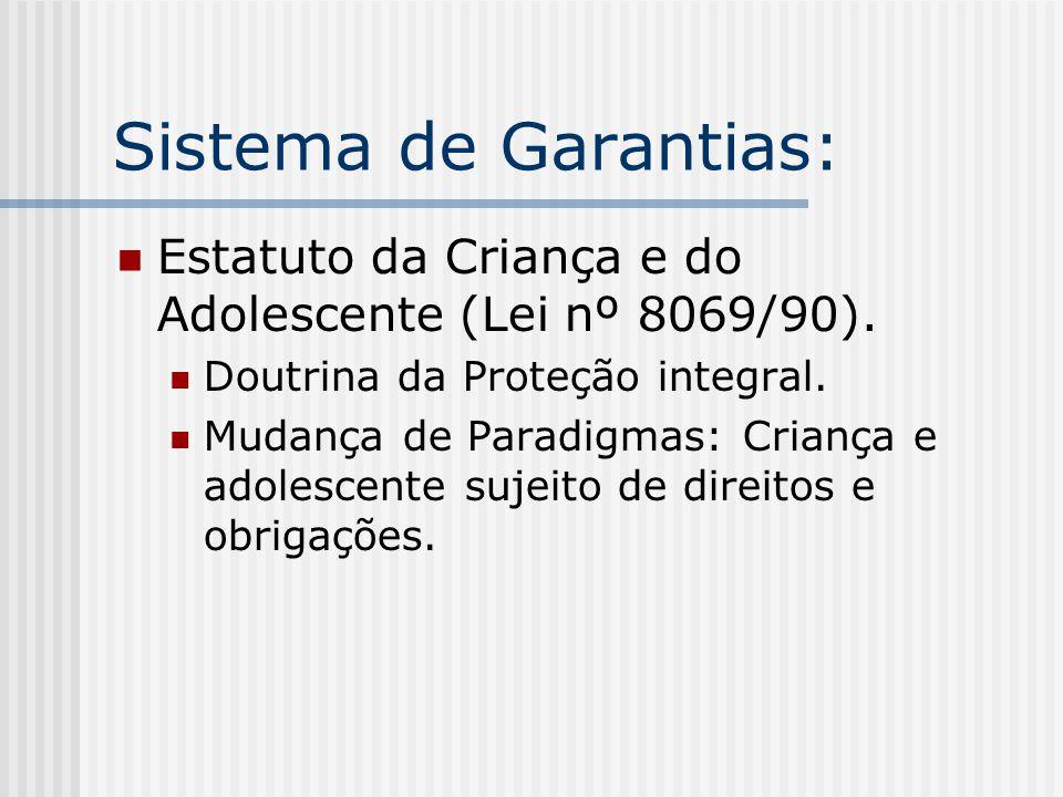 Sistema de Garantias: Estatuto da Criança e do Adolescente (Lei nº 8069/90). Doutrina da Proteção integral.
