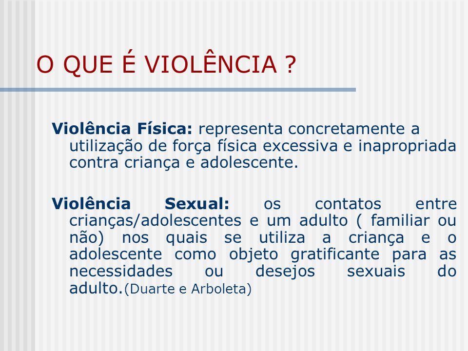O QUE É VIOLÊNCIA Violência Física: representa concretamente a utilização de força física excessiva e inapropriada contra criança e adolescente.