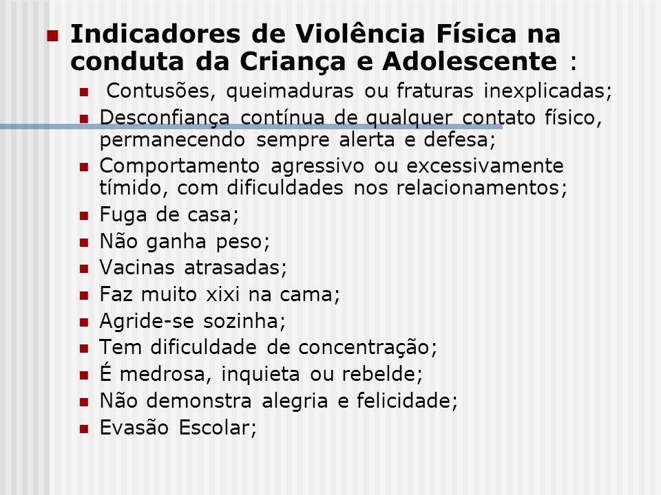 Indicadores de Violência Física na conduta da Criança e Adolescente :