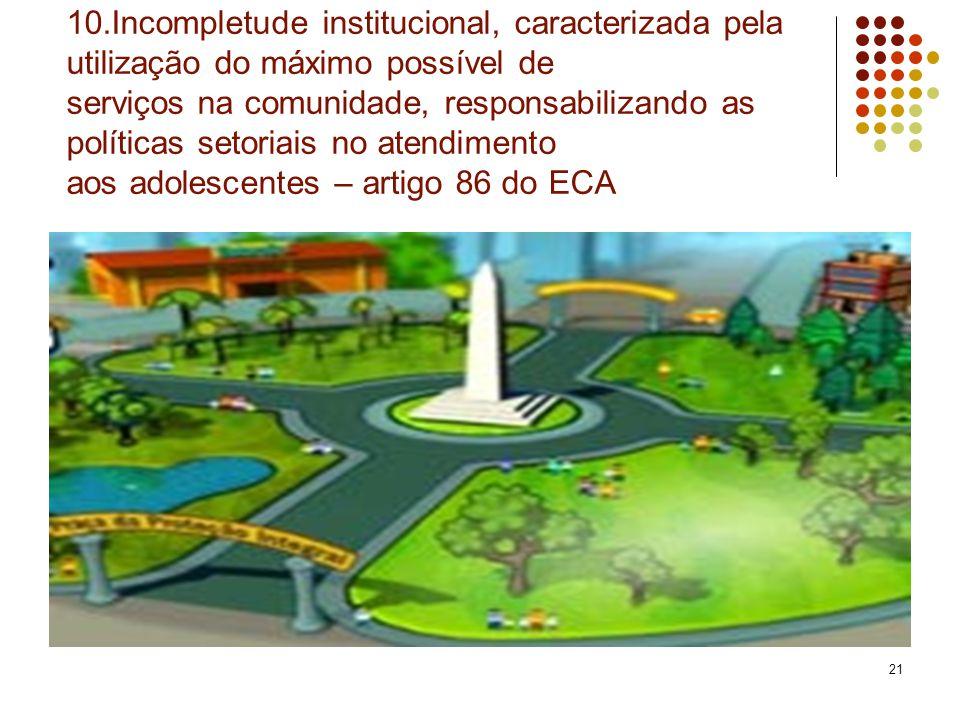 10.Incompletude institucional, caracterizada pela utilização do máximo possível de serviços na comunidade, responsabilizando as políticas setoriais no atendimento aos adolescentes – artigo 86 do ECA