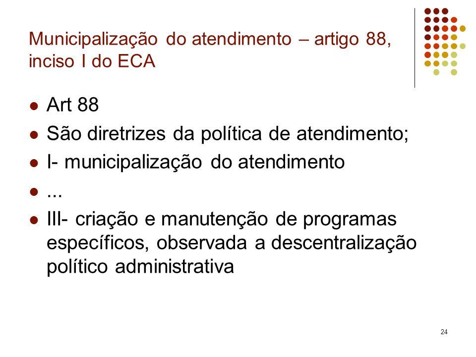 Municipalização do atendimento – artigo 88, inciso I do ECA