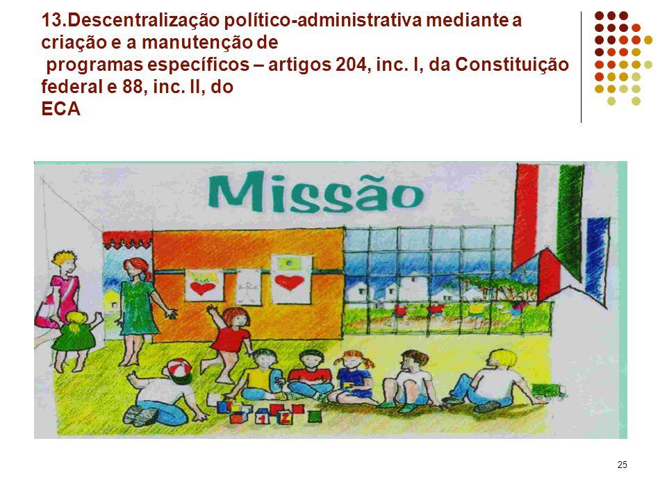 13.Descentralização político-administrativa mediante a criação e a manutenção de programas específicos – artigos 204, inc.