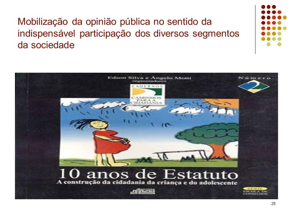 Mobilização da opinião pública no sentido da indispensável participação dos diversos segmentos da sociedade