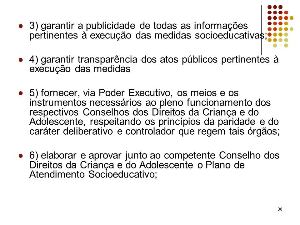 3) garantir a publicidade de todas as informações pertinentes à execução das medidas socioeducativas;