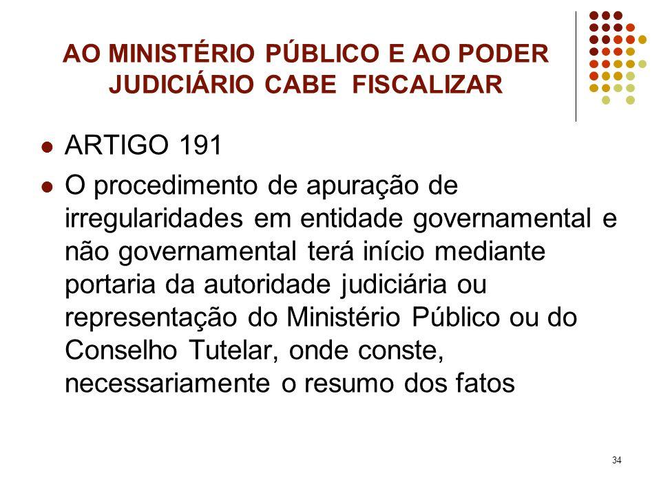 AO MINISTÉRIO PÚBLICO E AO PODER JUDICIÁRIO CABE FISCALIZAR