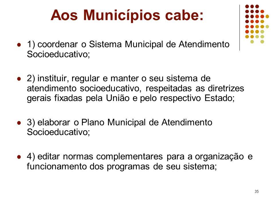 Aos Municípios cabe: 1) coordenar o Sistema Municipal de Atendimento Socioeducativo;
