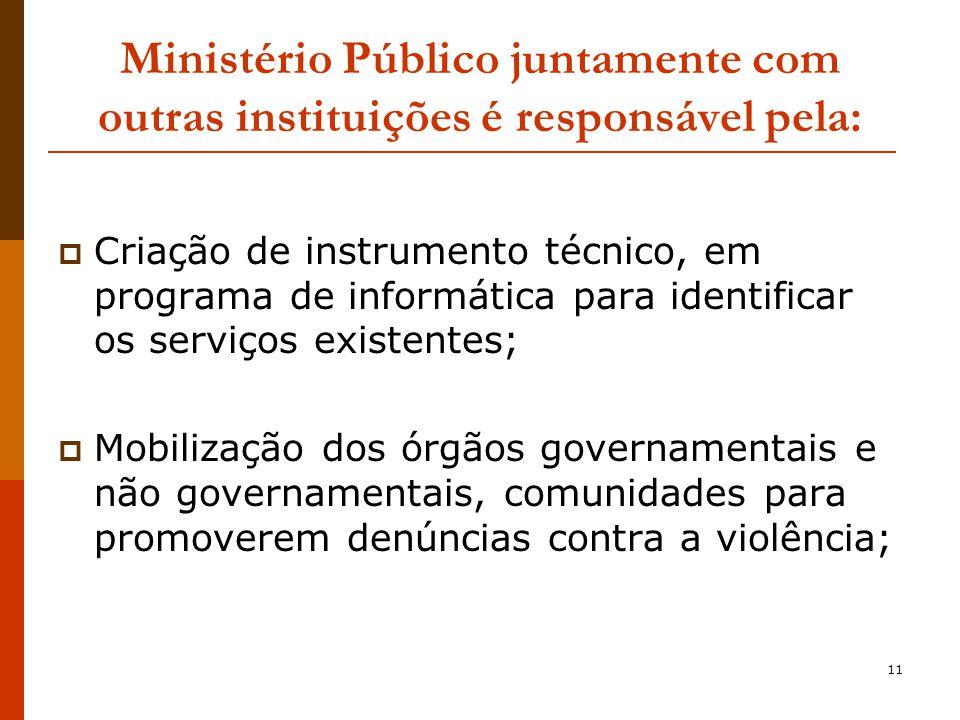 Ministério Público juntamente com outras instituições é responsável pela: