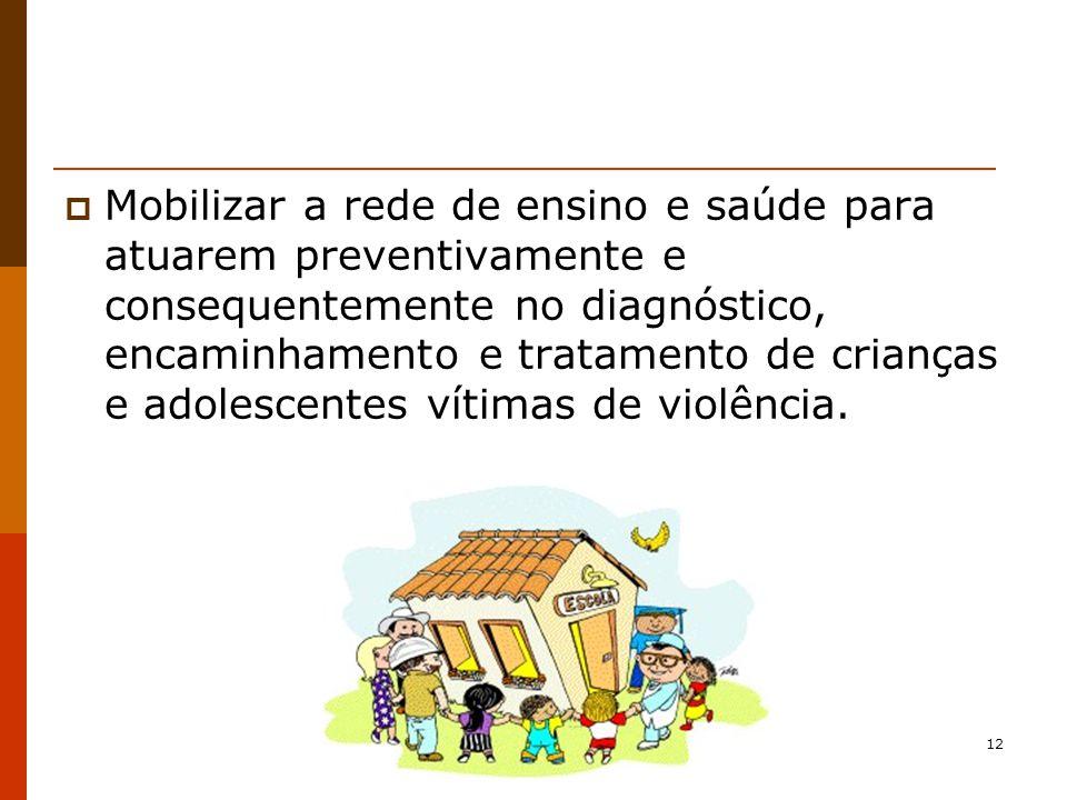 Mobilizar a rede de ensino e saúde para atuarem preventivamente e consequentemente no diagnóstico, encaminhamento e tratamento de crianças e adolescentes vítimas de violência.