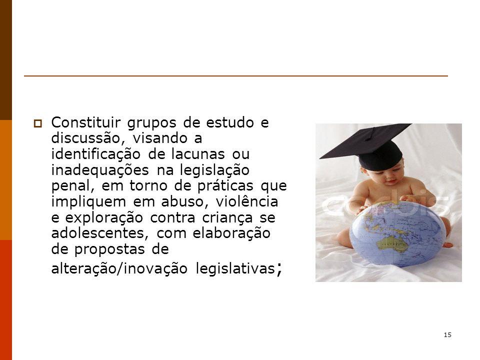 Constituir grupos de estudo e discussão, visando a identificação de lacunas ou inadequações na legislação penal, em torno de práticas que impliquem em abuso, violência e exploração contra criança se adolescentes, com elaboração de propostas de alteração/inovação legislativas;
