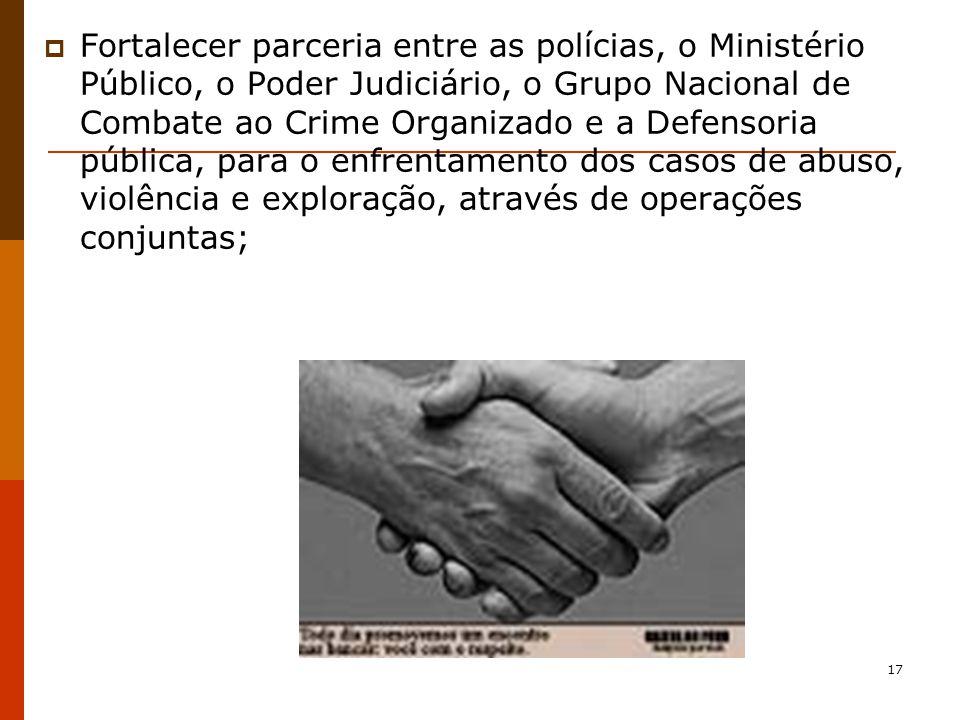 Fortalecer parceria entre as polícias, o Ministério Público, o Poder Judiciário, o Grupo Nacional de Combate ao Crime Organizado e a Defensoria pública, para o enfrentamento dos casos de abuso, violência e exploração, através de operações conjuntas;
