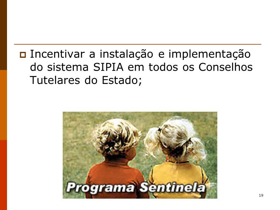 Incentivar a instalação e implementação do sistema SIPIA em todos os Conselhos Tutelares do Estado;