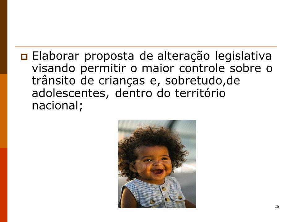 Elaborar proposta de alteração legislativa visando permitir o maior controle sobre o trânsito de crianças e, sobretudo,de adolescentes, dentro do território nacional;