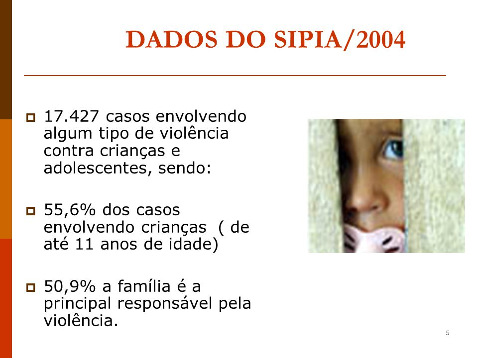 DADOS DO SIPIA/2004 17.427 casos envolvendo algum tipo de violência contra crianças e adolescentes, sendo: