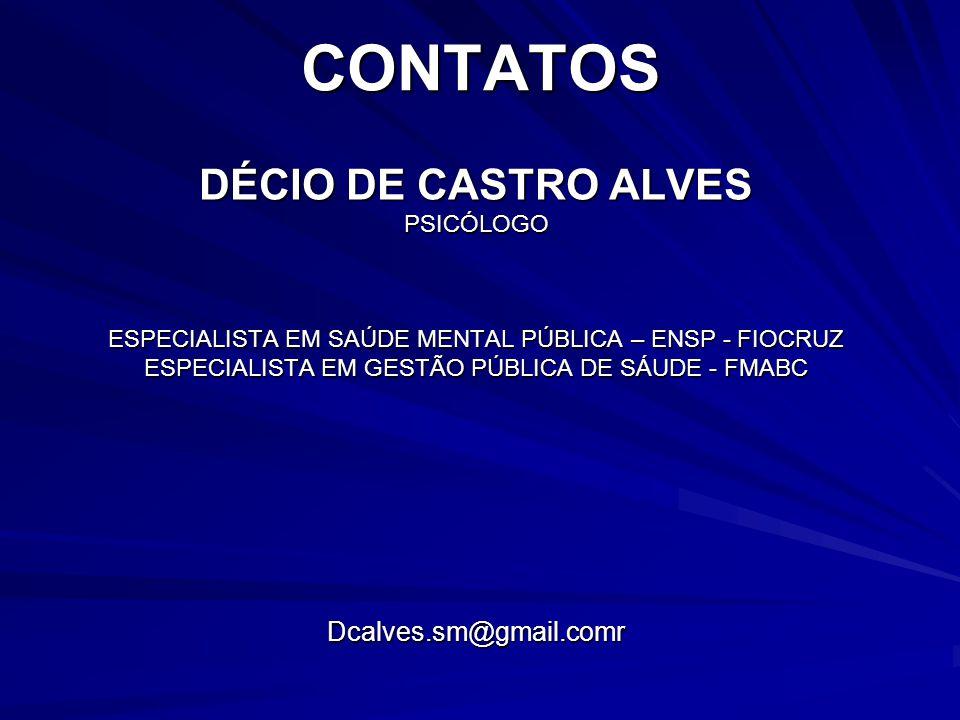 CONTATOS DÉCIO DE CASTRO ALVES Dcalves.sm@gmail.comr PSICÓLOGO