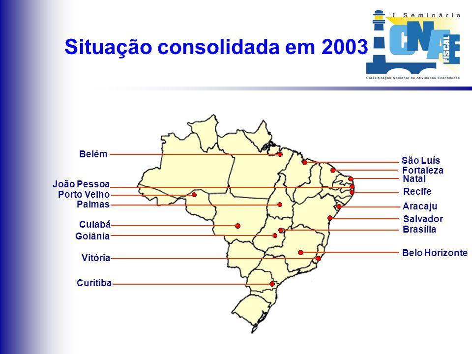 Implantações em 2003 Fortaleza Porto Velho Palmas Brasília Goiânia