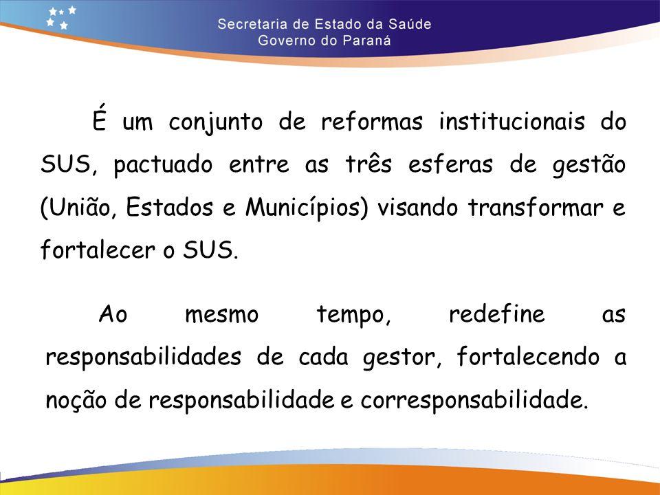 É um conjunto de reformas institucionais do SUS, pactuado entre as três esferas de gestão (União, Estados e Municípios) visando transformar e fortalecer o SUS.