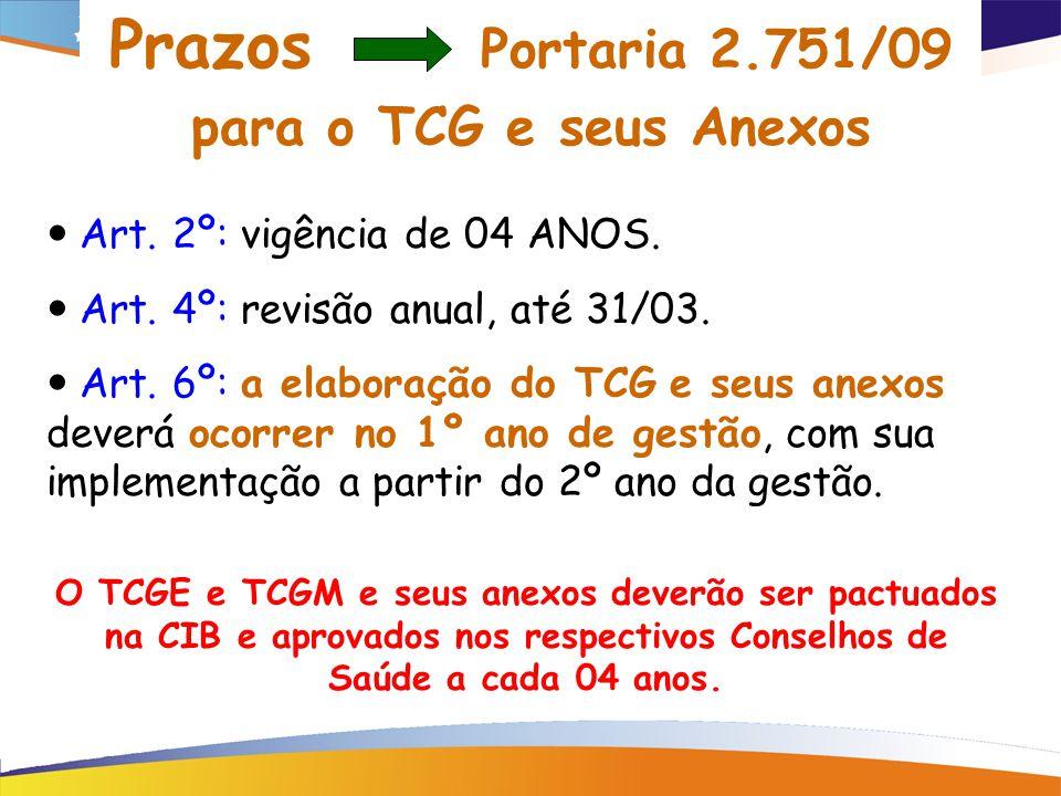 Prazos Portaria 2.751/09 para o TCG e seus Anexos