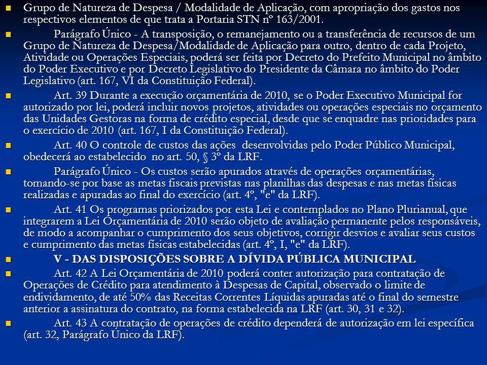 Grupo de Natureza de Despesa / Modalidade de Aplicação, com apropriação dos gastos nos respectivos elementos de que trata a Portaria STN nº 163/2001.