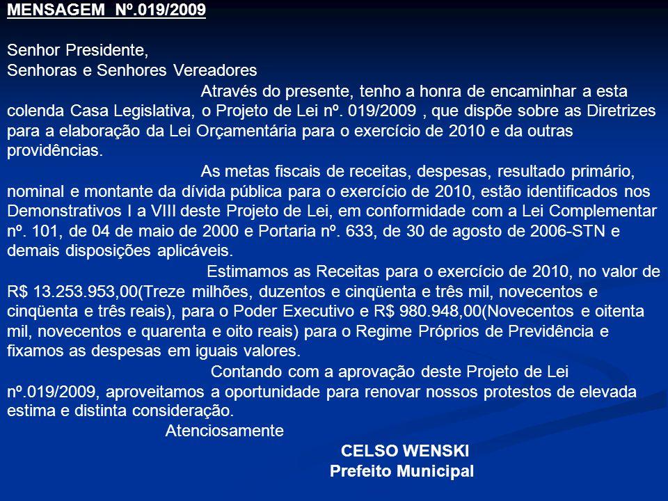 MENSAGEM Nº.019/2009 Senhor Presidente, Senhoras e Senhores Vereadores.