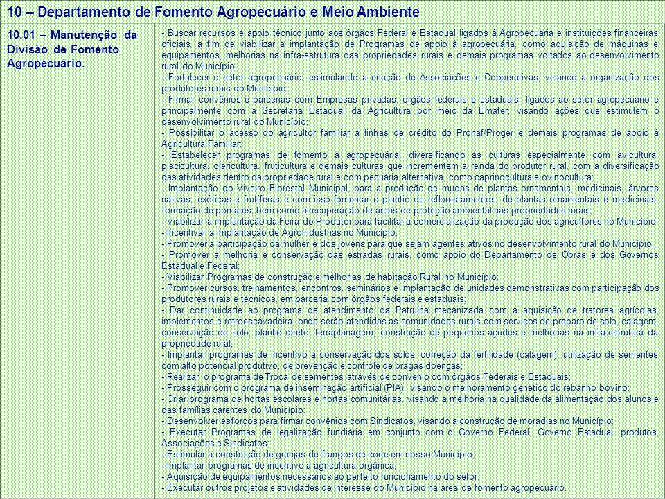 10 – Departamento de Fomento Agropecuário e Meio Ambiente