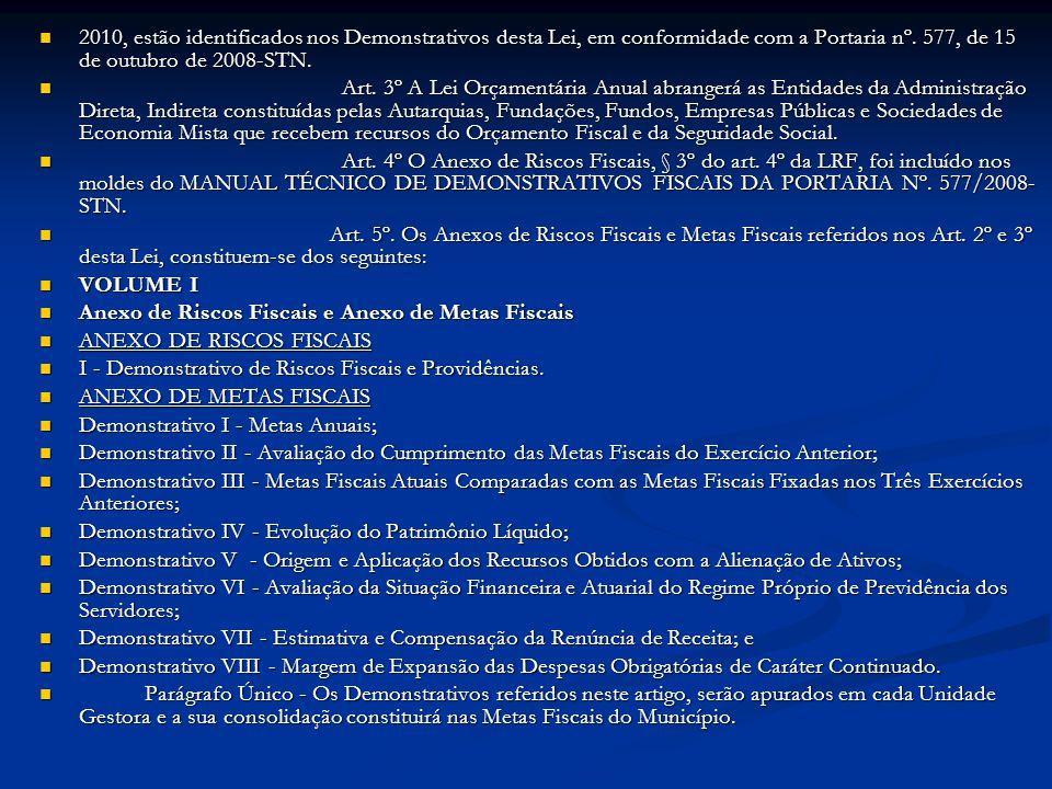 2010, estão identificados nos Demonstrativos desta Lei, em conformidade com a Portaria nº. 577, de 15 de outubro de 2008-STN.