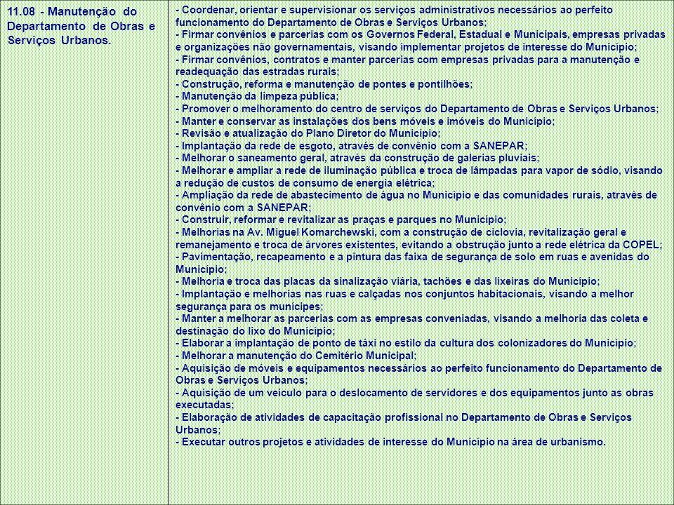 11.08 - Manutenção do Departamento de Obras e Serviços Urbanos.