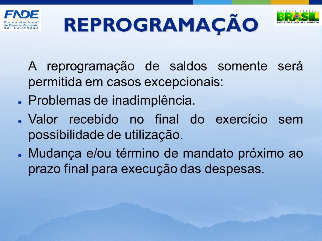 REPROGRAMAÇÃO A reprogramação de saldos somente será permitida em casos excepcionais: Problemas de inadimplência.
