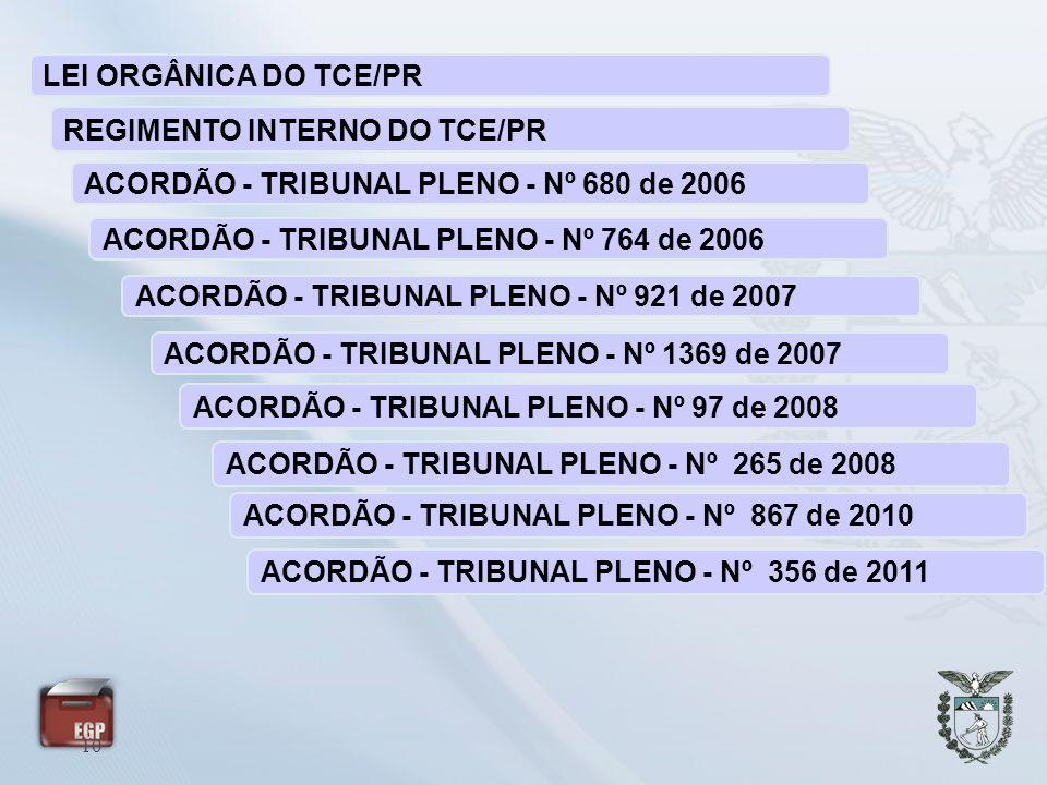 LEI ORGÂNICA DO TCE/PR REGIMENTO INTERNO DO TCE/PR. ACORDÃO - TRIBUNAL PLENO - Nº 680 de 2006. ACORDÃO - TRIBUNAL PLENO - Nº 764 de 2006.