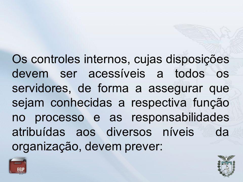 Os controles internos, cujas disposições devem ser acessíveis a todos os servidores, de forma a assegurar que sejam conhecidas a respectiva função no processo e as responsabilidades atribuídas aos diversos níveis da organização, devem prever: