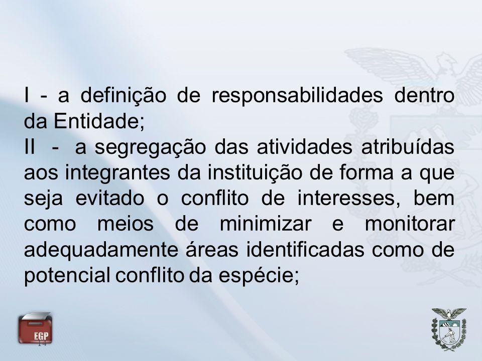 I - a definição de responsabilidades dentro da Entidade;