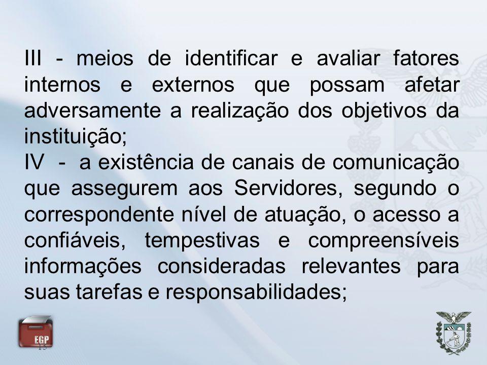 III - meios de identificar e avaliar fatores internos e externos que possam afetar adversamente a realização dos objetivos da instituição;