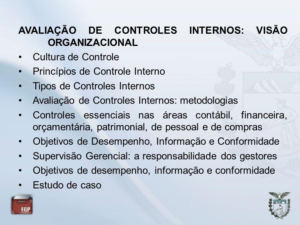 AVALIAÇÃO DE CONTROLES INTERNOS: VISÃO ORGANIZACIONAL