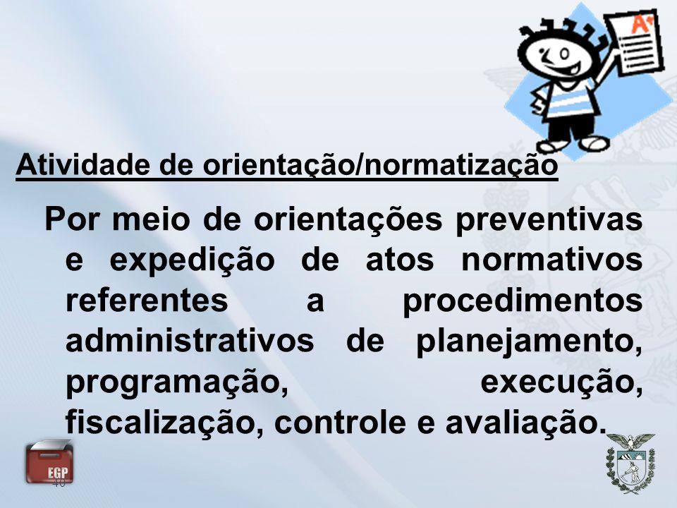 Atividade de orientação/normatização