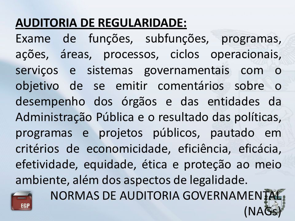 AUDITORIA DE REGULARIDADE: