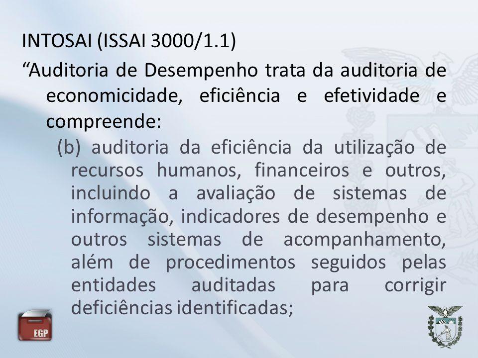 INTOSAI (ISSAI 3000/1.1) Auditoria de Desempenho trata da auditoria de economicidade, eficiência e efetividade e compreende: