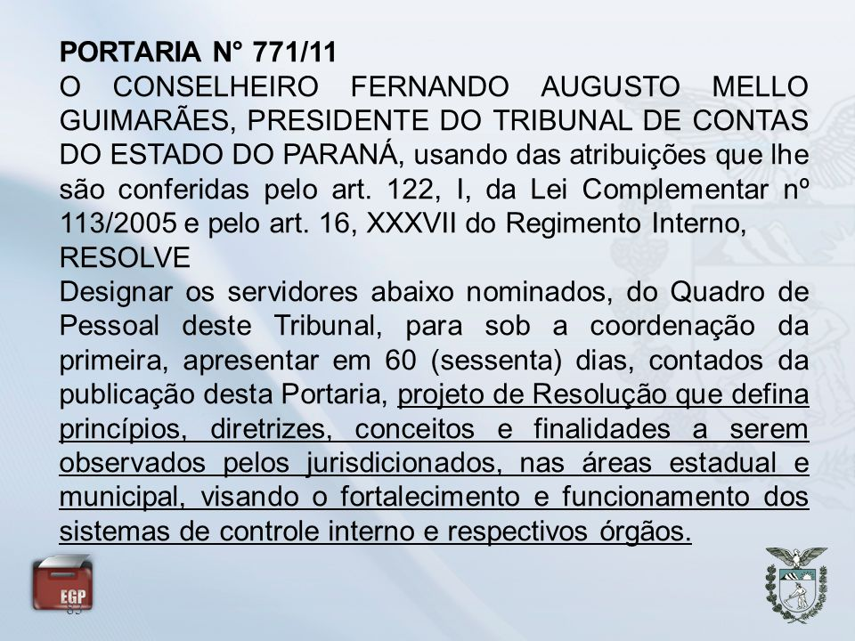 PORTARIA N° 771/11