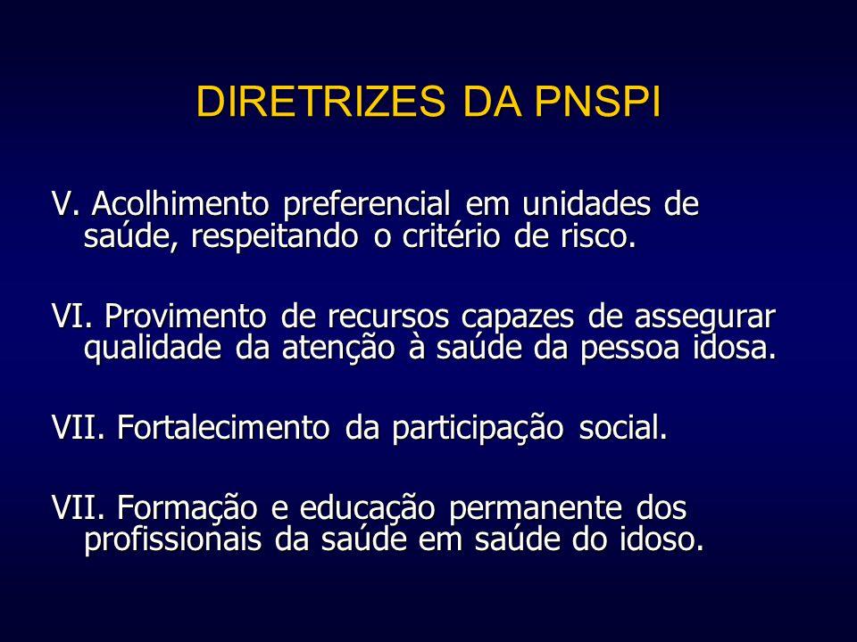 DIRETRIZES DA PNSPI V. Acolhimento preferencial em unidades de saúde, respeitando o critério de risco.