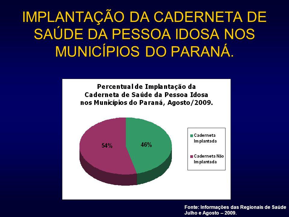IMPLANTAÇÃO DA CADERNETA DE SAÚDE DA PESSOA IDOSA NOS MUNICÍPIOS DO PARANÁ.