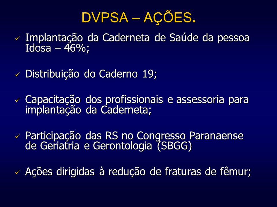 DVPSA – AÇÕES. Implantação da Caderneta de Saúde da pessoa Idosa – 46%; Distribuição do Caderno 19;