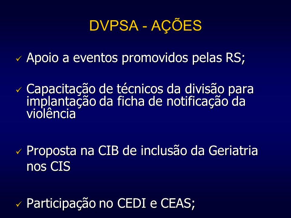 DVPSA - AÇÕES Apoio a eventos promovidos pelas RS;