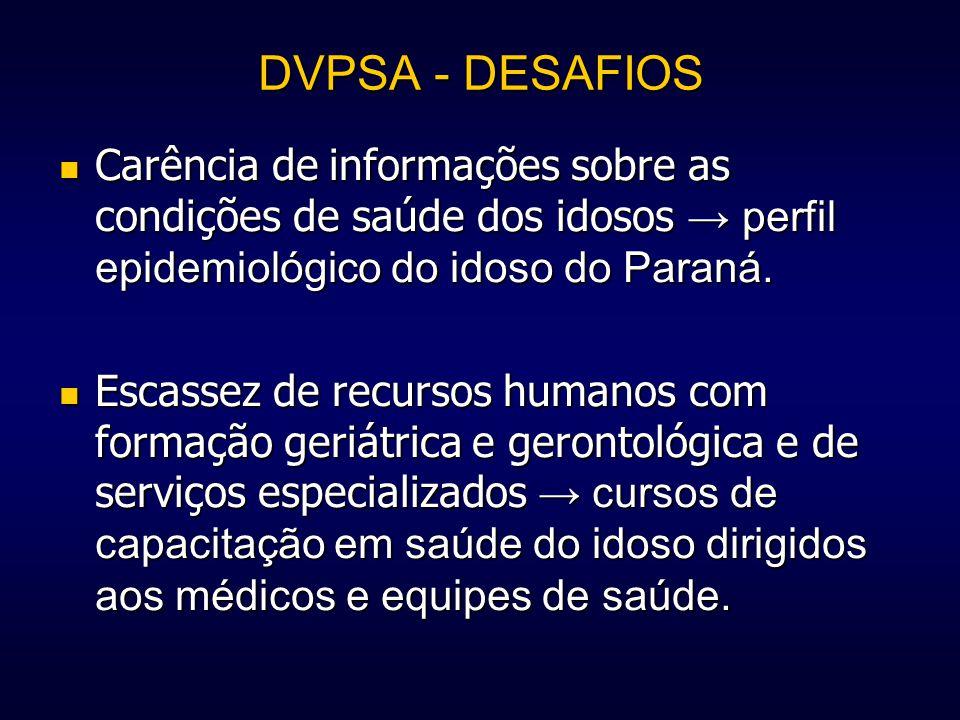 DVPSA - DESAFIOS Carência de informações sobre as condições de saúde dos idosos → perfil epidemiológico do idoso do Paraná.